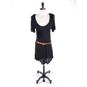 Patterson Kincaid Braided Belt Sheer Plunge Dress